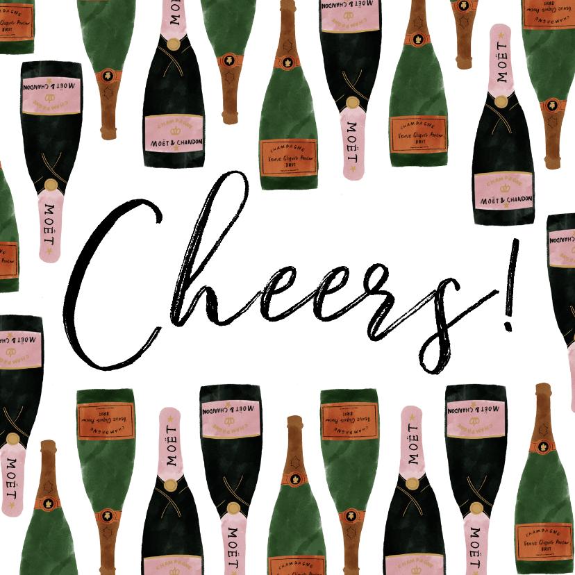 Nieuwjaarskaarten - Stijlvolle nieuwjaarskaart met champagneflessen en cheers!