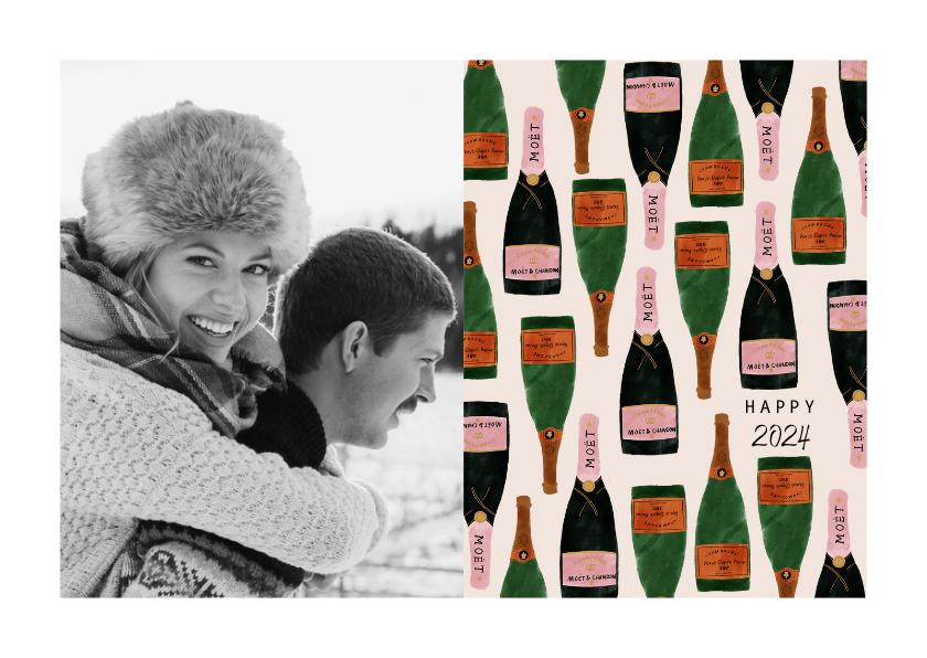 Nieuwjaarskaarten - Stijlvolle nieuwjaarskaart met foto en champagneflessen