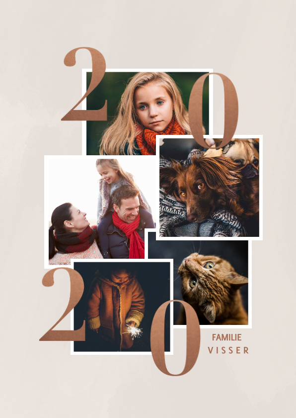 Nieuwjaarskaarten - Stijlvolle nieuwjaarskaart met fotocollage en 2020