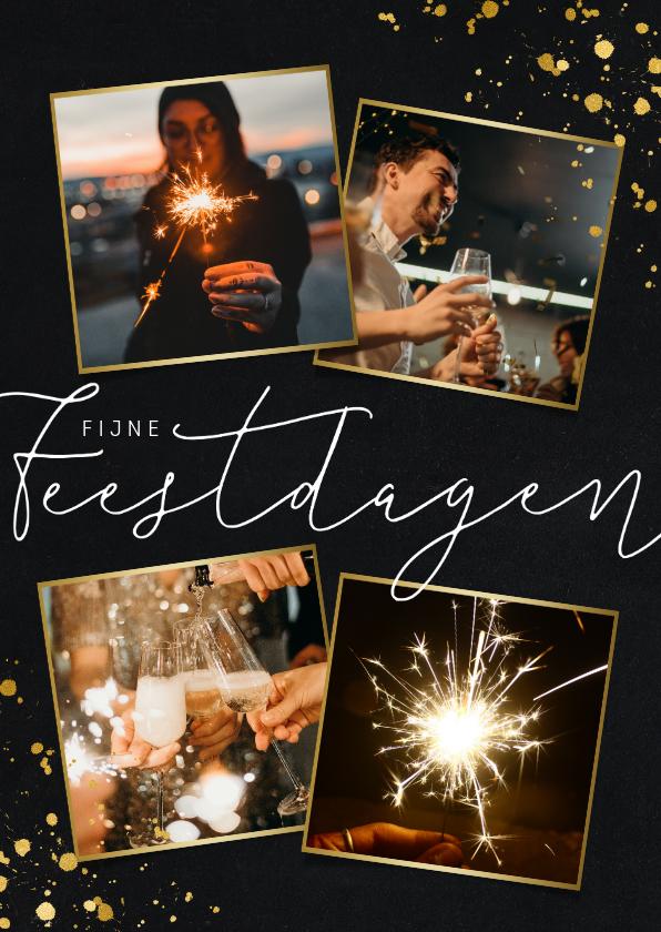 Nieuwjaarskaarten - Stijlvolle nieuwjaarskaart met fotocollage en goudlook
