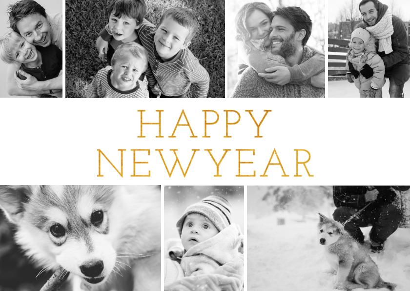 Nieuwjaarskaarten - Stijlvolle nieuwjaarskaart met fotocollage en happy new year