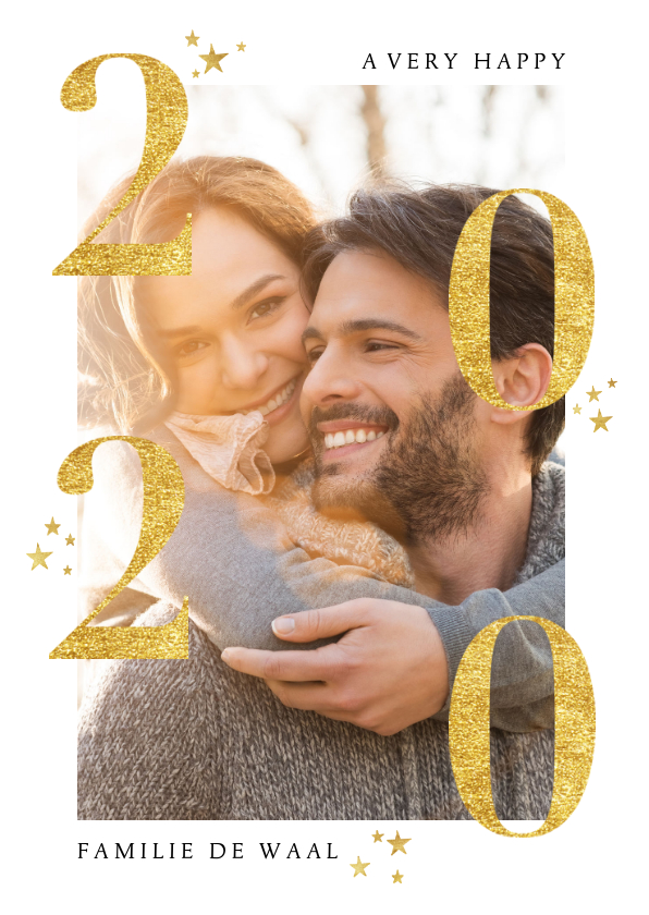 Nieuwjaarskaarten - Stijlvolle nieuwjaarskaart met gouden 2020 en foto
