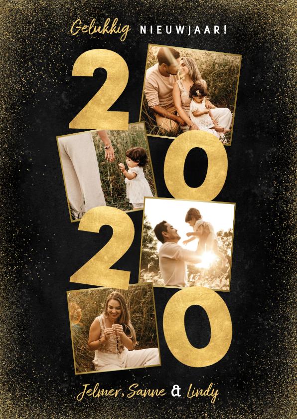 Nieuwjaarskaarten - Stijlvolle nieuwjaarskaart met gouden 2020 en fotocollage