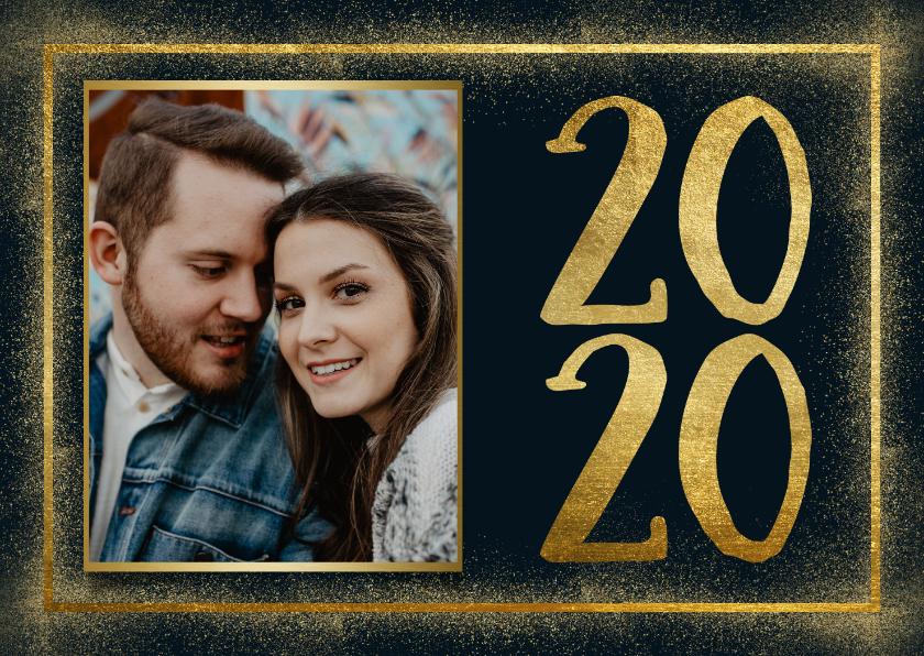 Nieuwjaarskaarten - Stijlvolle nieuwjaarskaart met gouden kader en 2020