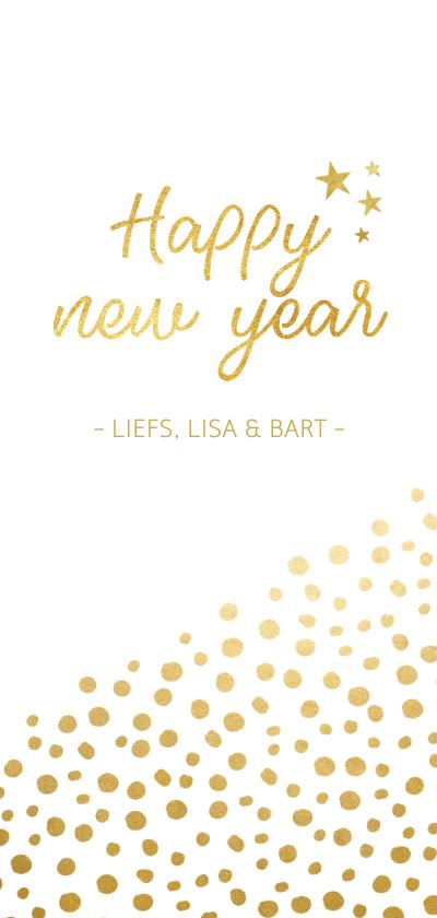 Nieuwjaarskaarten - Stijlvolle nieuwjaarskaart met gouden stippen
