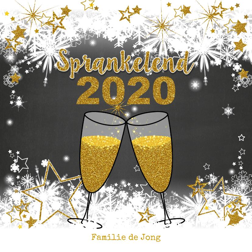 Nieuwjaarskaarten - Stijlvolle nieuwjaarskaart sneeuw en sterren  champagne 2020