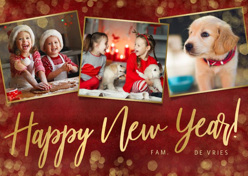 Nieuwjaarskaarten - Stijlvolle rode nieuwjaarskaart met 3 eigen foto's en goud