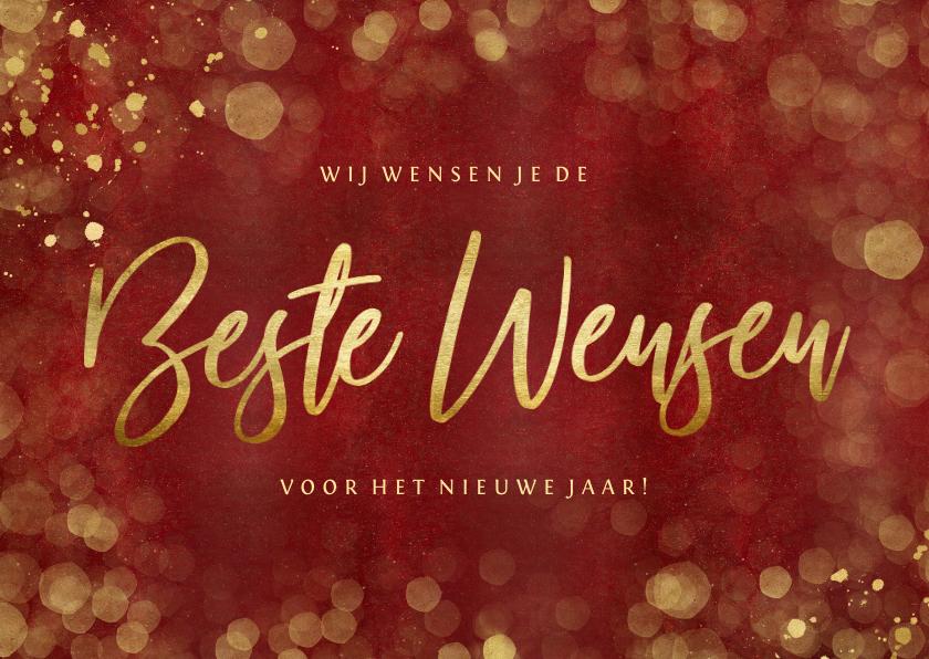 Nieuwjaarskaarten - Stijlvolle rode nieuwjaarskaart met goud Beste wensen