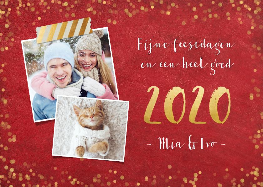 Nieuwjaarskaarten - Stijlvolle rode nieuwjaarskaart met gouden confetti en 2020