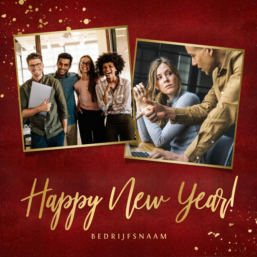 Nieuwjaarskaarten - Stijlvolle rode zakelijke nieuwjaarskaart met 2 foto's