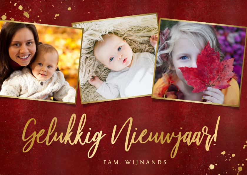 Nieuwjaarskaarten - Stijlvolle rood gelukkig nieuwjaar in goud fotocollage