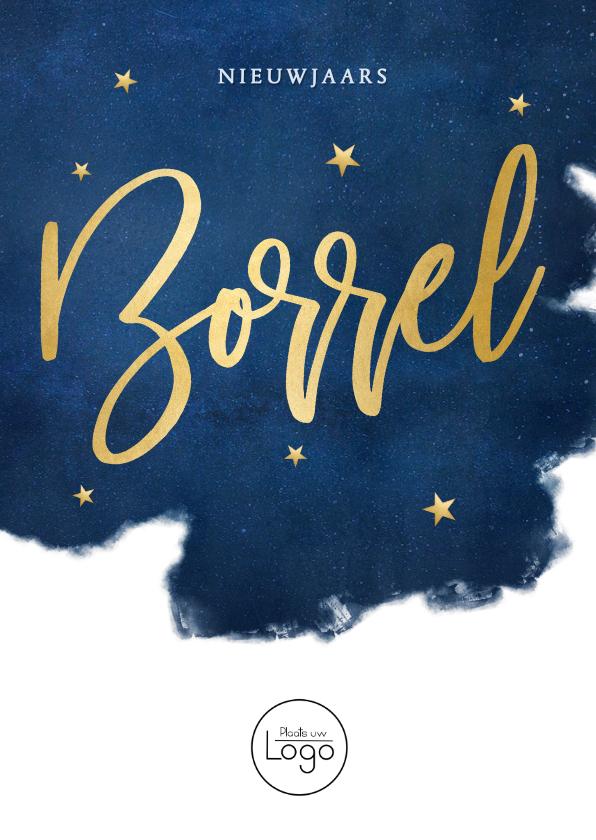 Nieuwjaarskaarten - Stijlvolle uitnodiging nieuwjaarsborrel met sterren en goud