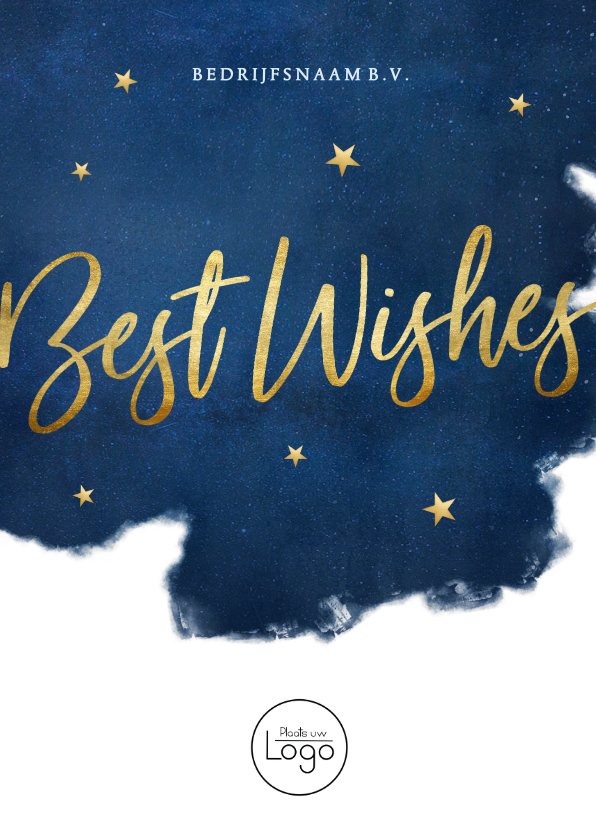 Nieuwjaarskaarten - Stijlvolle zakelijke nieuwjaarskaart Best Wishes met goud