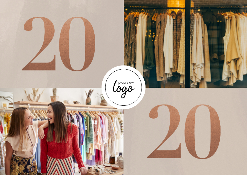 Nieuwjaarskaarten - Stijlvolle zakelijke nieuwjaarskaart met fotocollage en 2020