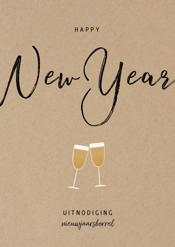 Nieuwjaarskaarten - Stijlvolle zakelijke uitnodiging nieuwjaarsborrel