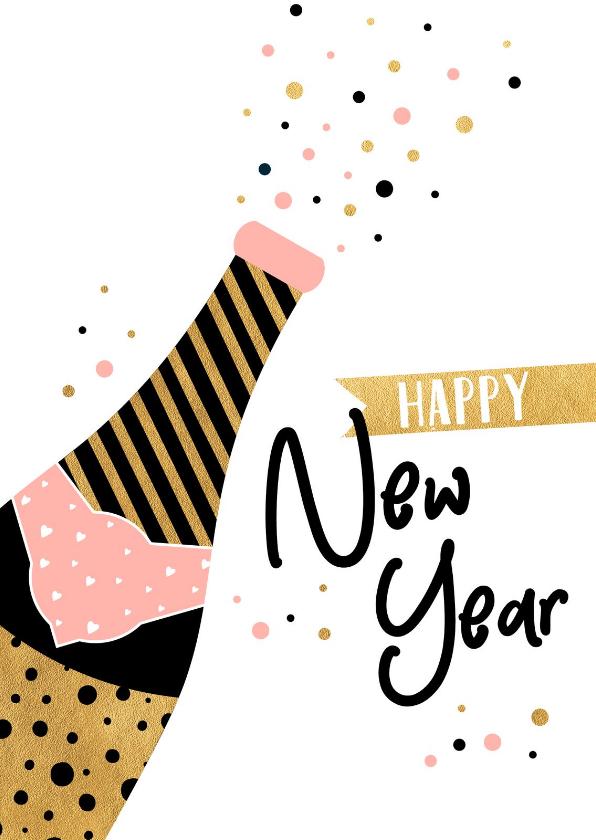 Nieuwjaarskaarten - Trendy nieuwjaarskaart met champagne