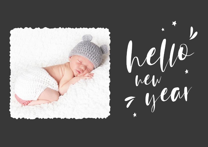 Nieuwjaarskaarten - Trendy nieuwjaarskaart met foto en handlettering