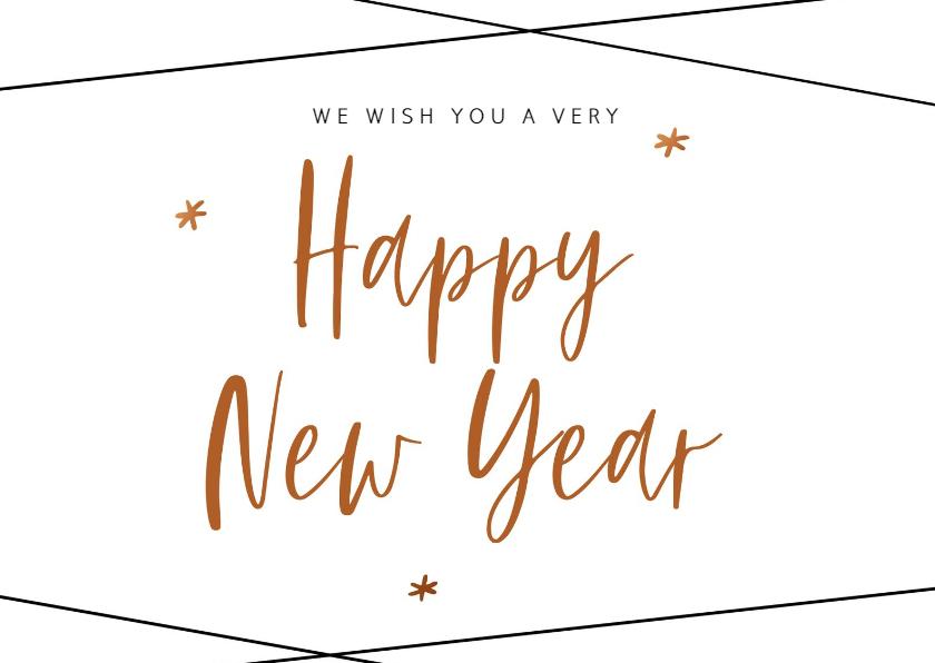 Nieuwjaarskaarten - Trendy nieuwjaarskaart met geometrische strepen