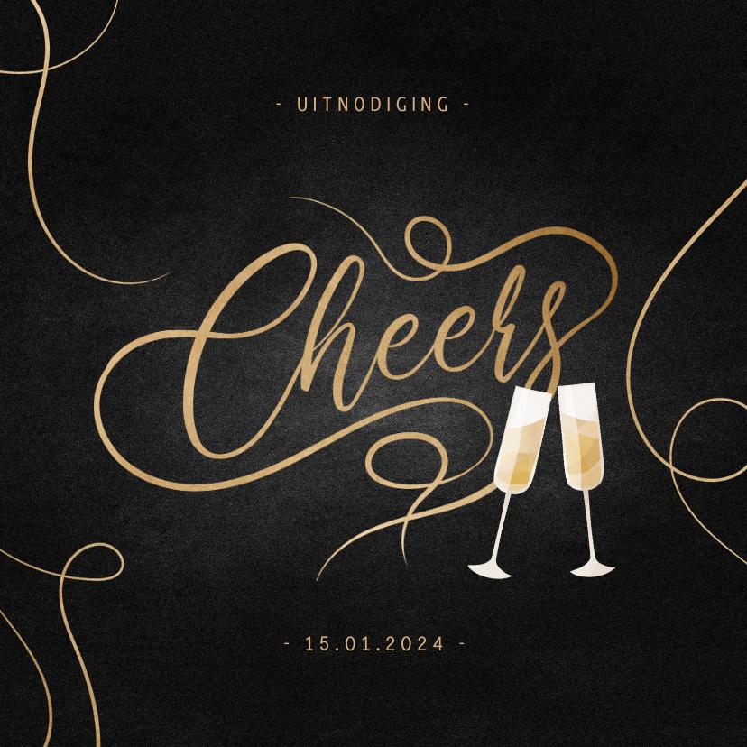 Nieuwjaarskaarten - Uitnodiging nieuwjaarsborrel champagne met gouden linten