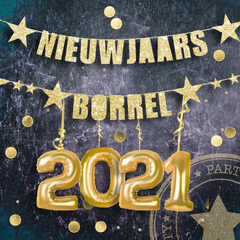 Nieuwjaarskaarten - Uitnodiging nieuwjaarsborrel confetti