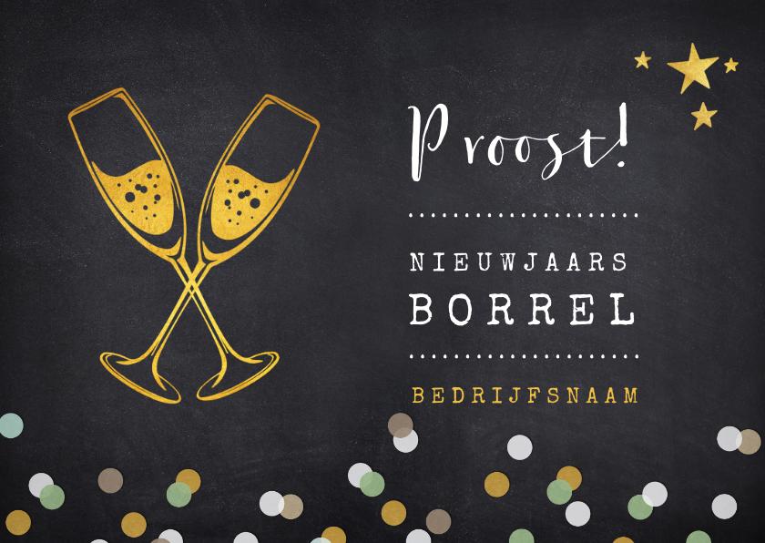 Nieuwjaarskaarten - Uitnodiging nieuwjaarsborrel proost met champagneglazen