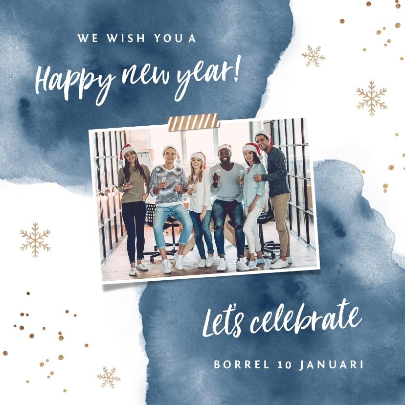Nieuwjaarskaarten - Uitnodiging nieuwjaarsborrel zakelijk goudlook watercolor