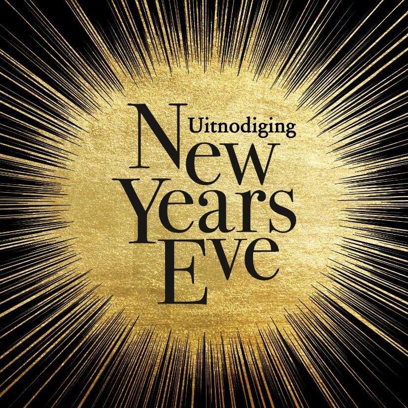 Nieuwjaarskaarten - Uitnodiging oud en nieuw gouden ster met typografie