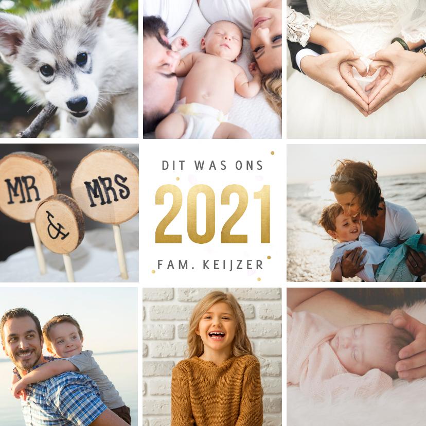 Nieuwjaarskaarten - Vierkante nieuwjaarskaart fotocollage met terugblik op 2021