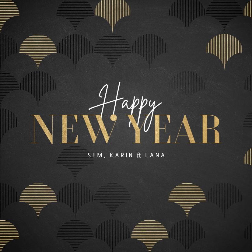Nieuwjaarskaarten - Vintage nieuwjaarskaart met goudlook patroon Happy New Year