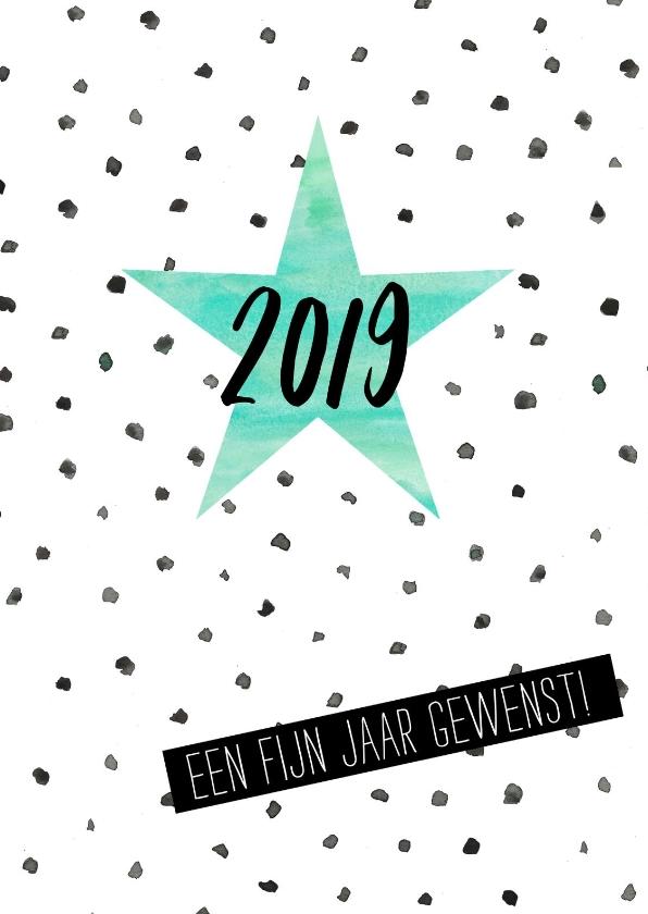 Nieuwjaarskaarten - Waterverf nieuwjaarskaart met stippen en ster