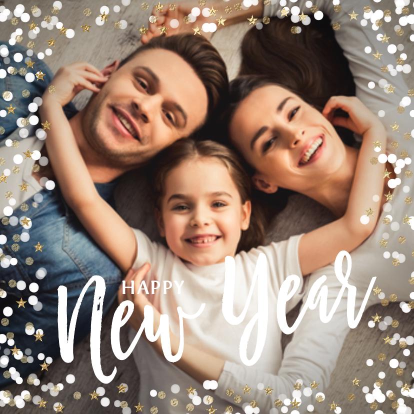 Nieuwjaarskaarten - Winterse nieuwjaarskaart met sneeuw en sterretjes