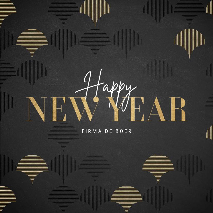 Nieuwjaarskaarten - Zakelijk nieuwjaarskaart goud vintage patroon Happy New Year