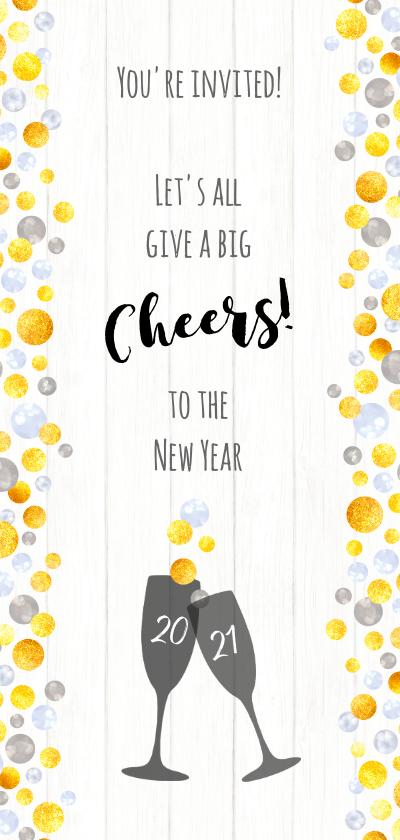 Nieuwjaarskaarten - Zakelijke champagne bubbels op hout