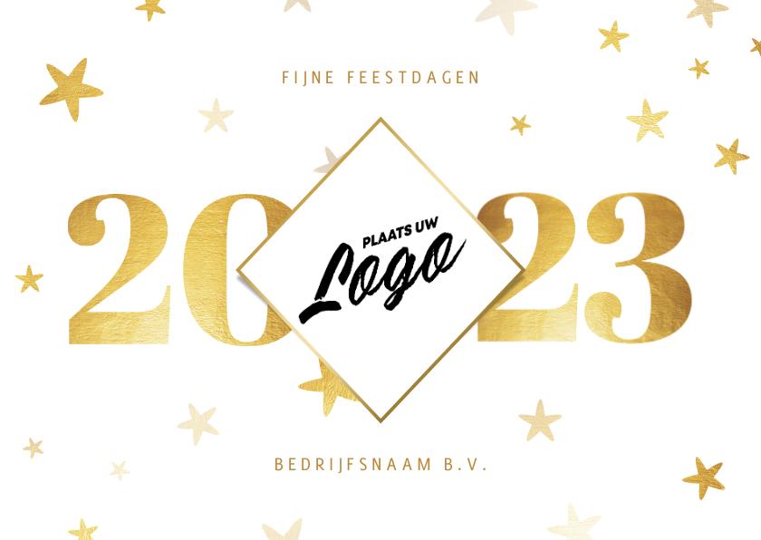 Nieuwjaarskaarten - Zakelijke nieuwjaarskaart 2022 met logo ruit en sterren