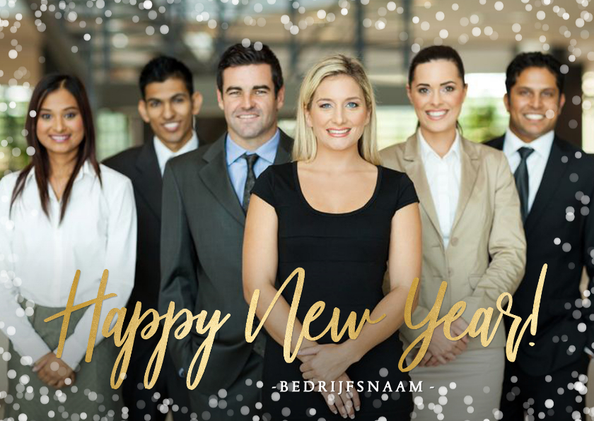 Nieuwjaarskaarten - Zakelijke nieuwjaarskaart met grote foto en confetti