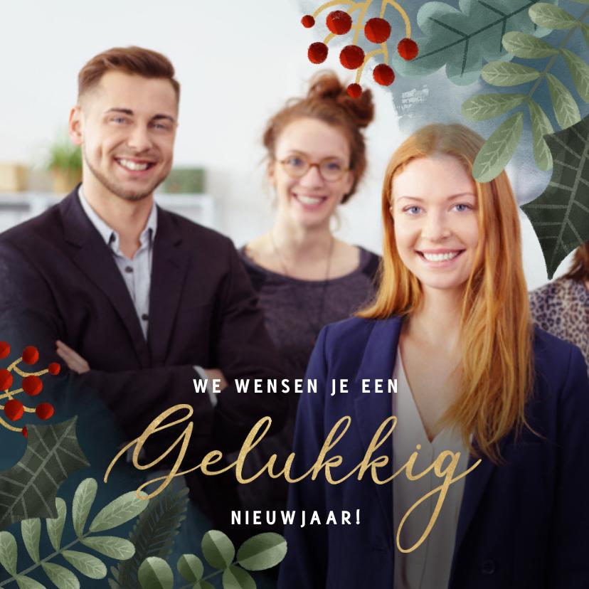 Nieuwjaarskaarten - Zakelijke nieuwjaarskaart takjes kader gelukkig nieuwjaar