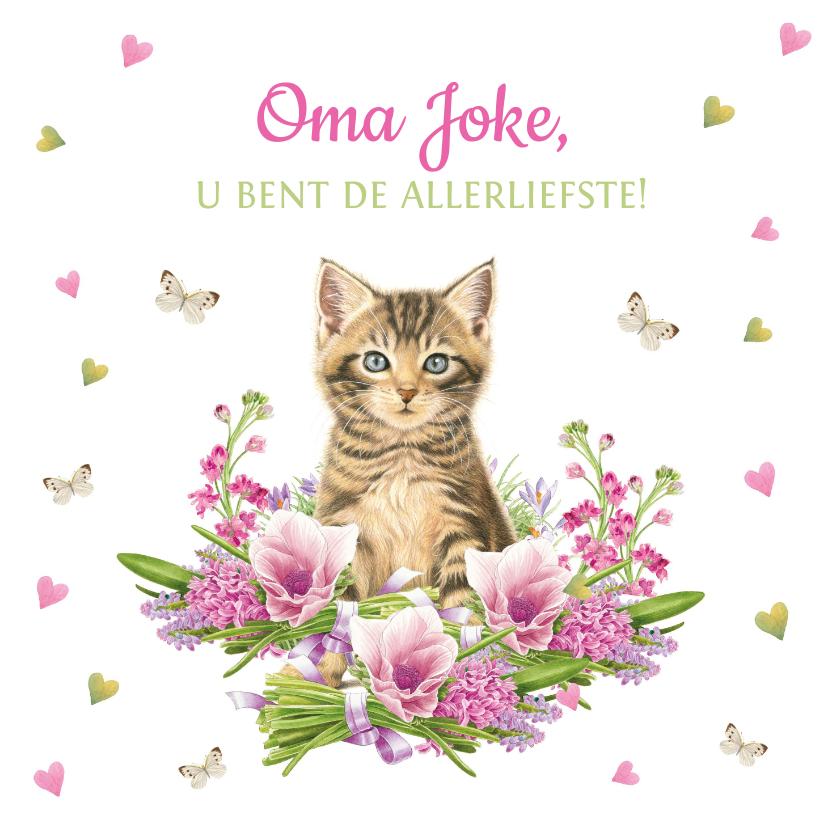 Opa en Oma kaarten - Allerliefste oma kaart met kitten, hartjes en vlinders