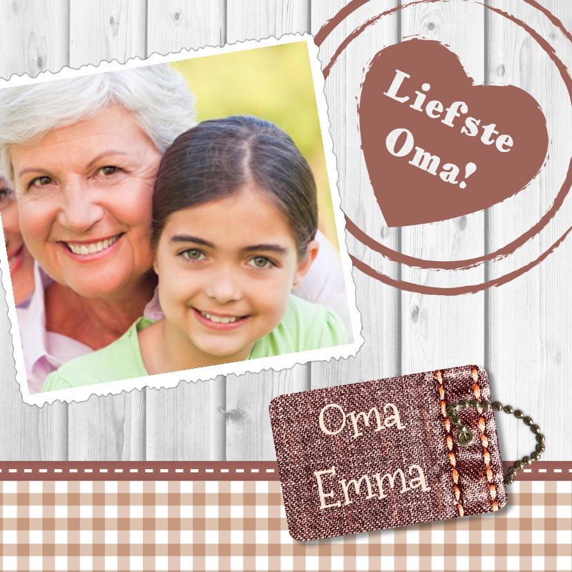 Opa en Oma kaarten - Hout met label oma - BK