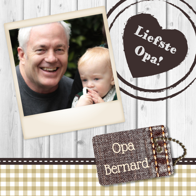 Opa en Oma kaarten - Hout met Label Opa - BK