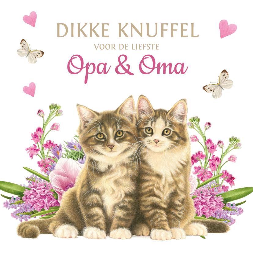Opa en Oma kaarten - Kittens en bloemen dikke knuffel voor opa en oma