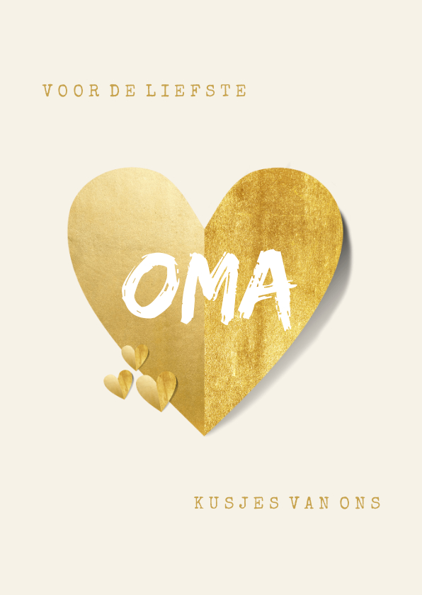 Opa en Oma kaarten - Oma kaart liefste met gouden hart