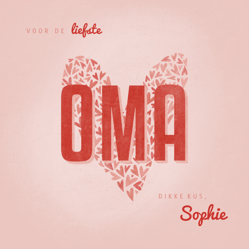 Opa en Oma kaarten - Oma kaartje OMA met hart en naam