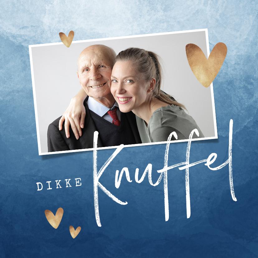 Opa en Oma kaarten - Opa en of oma kaart dikke knuffel stijlvol blauw hartjes