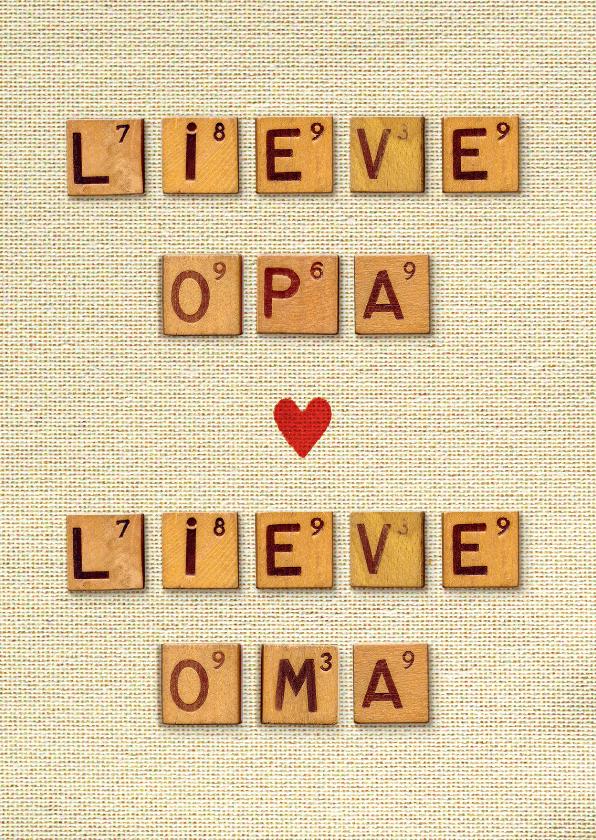 Opa en Oma kaarten - Opa en Oma dag vintage letters