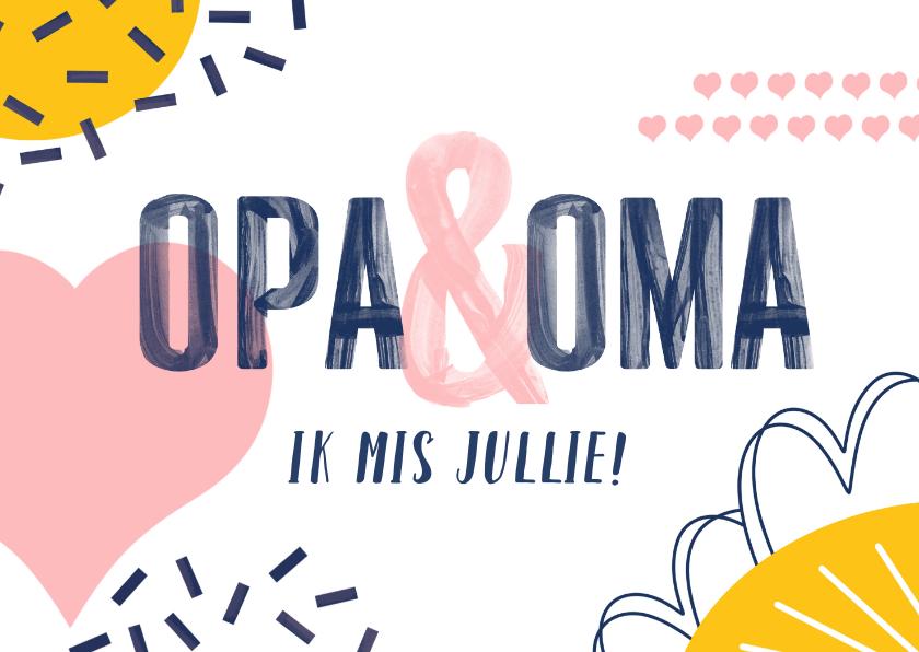 Opa en Oma kaarten - Opa en oma kaart met vrolijke vormen