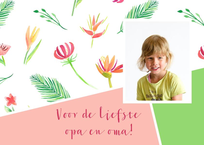 Opa en Oma kaarten - Opa- en omadagkaart met bloemen en foto