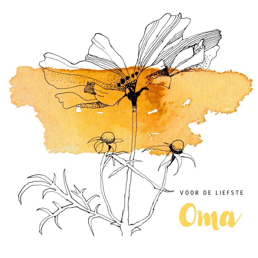 Opa en Oma kaarten - Voor de liefste oma, Cosmea bloem tekening