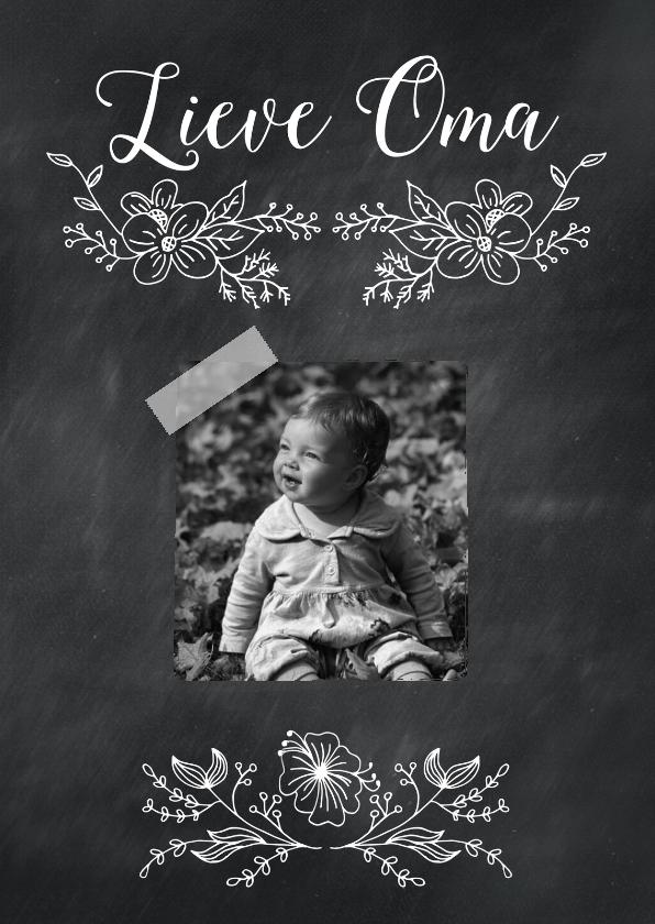 Opa & Omadag kaarten - Lieve oma krijtbord bloem-isf
