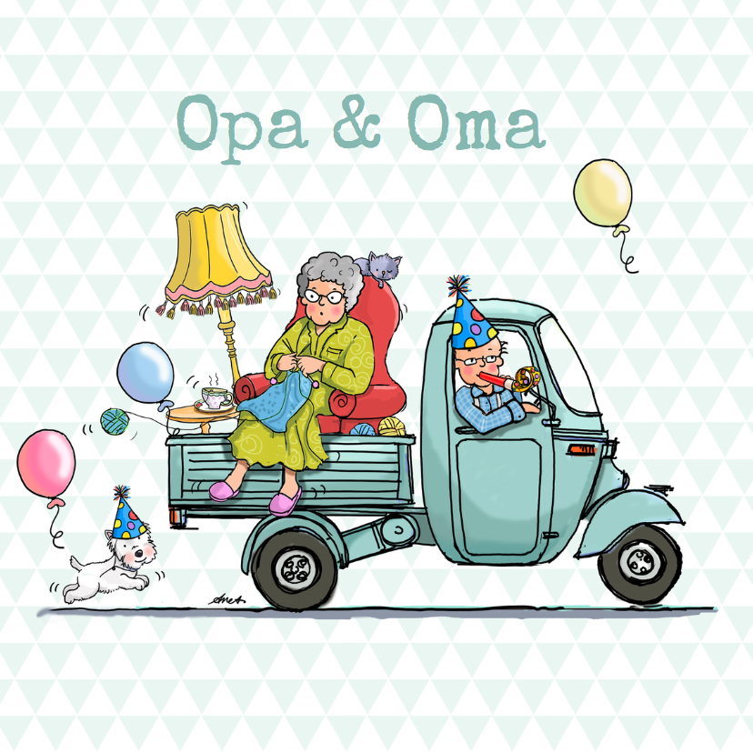 Opa & Omadag kaarten - Opa en Oma  Dag Vespa Ape av