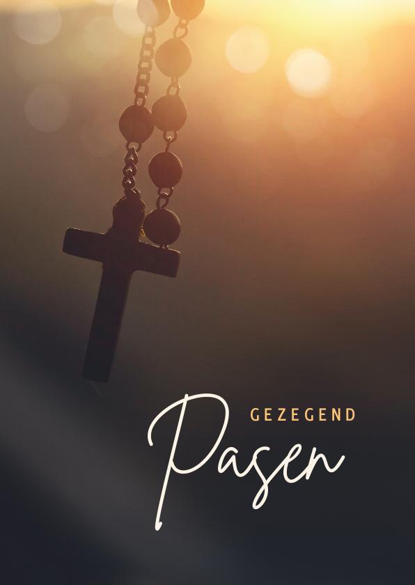 Paaskaarten - Christelijke paaskaart met rozenkrans - gezegend pasen